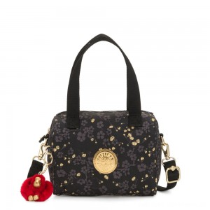 Kipling KEEYA S Small handbag with Removable shoulder strap Grey Gold Floral