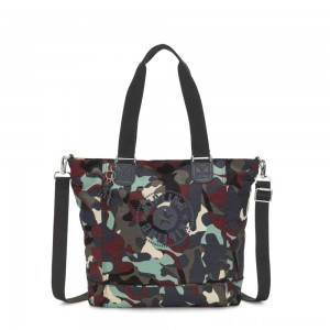 Kipling SHOPPER C Large Shoulder Bag With Removable Shoulder Strap Camo Large