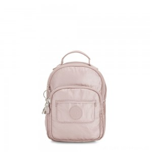 Kipling ALBER 3-In-1 Convertible Mini Backpack Crossbody Bumbag Metallic Rose