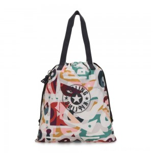 Black Friday 2020 - Kipling NEW HIPHURRAY Small Foldable Tote with drawstring Music Print