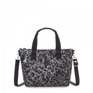 Kipling AMIEL Medium Handbag Navy Stick Print