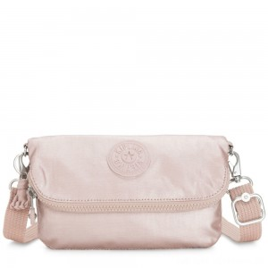 Black Friday 2020 - Kipling IBRI Medium pouch (with wristlet) Metallic Rose Femme Strap