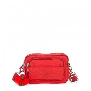 Kipling MULTIPLE Waist Bag Convertible to Shoulder Bag Active Red