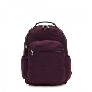 Kipling SEOUL Large backpack with Laptop Protection Dark Plum