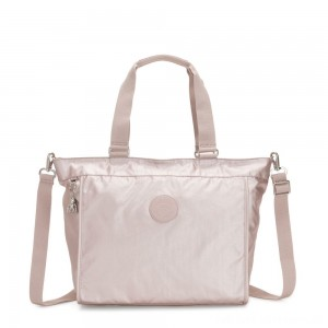 Kipling NEW SHOPPER L Large Shoulder Bag With Removable Shoulder Strap Metallic Rose