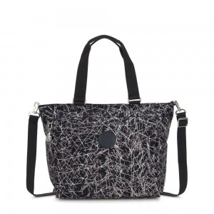 Black Friday 2020 - Kipling NEW SHOPPER L Large Shoulder Bag With Removable Shoulder Strap Navy Stick Print