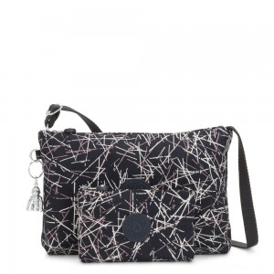 Black Friday 2020 - Kipling ATLEZ DUO Small Crossbody with Matching Pouch Navy Stick Print Gifting