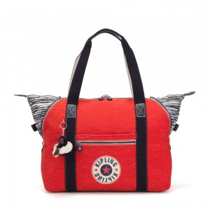 Kipling ART M Travel Tote With Trolley Sleeve Active Red Bl