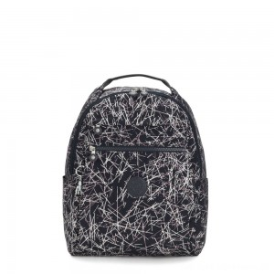 Kipling MICAH Medium Backpack Navy Stick Print