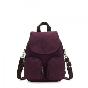 Kipling FIREFLY UP Small Backpack Covertible To Shoulder Bag Dark Plum