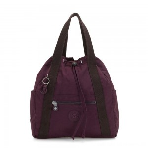 Kipling ART BACKPACK S Small Drawstring Backpack Dark Plum