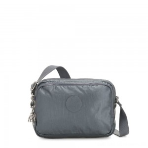 Black Friday 2020 - Kipling SILEN Small Across Body Shoulder Bag Steel Grey Metallic