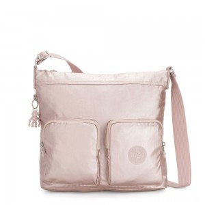 Black Friday 2020 - Kipling EIRENE Shoulderbag with External Front Pockets Metallic Rose Femme Strap