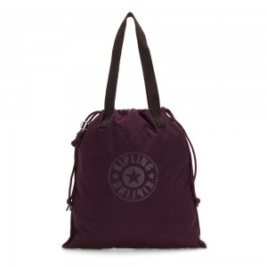Kipling NEW HIPHURRAY Small Foldable Tote with drawstring Dark Plum
