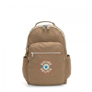 Kipling SEOUL Large backpack with Laptop Protection Sand Block
