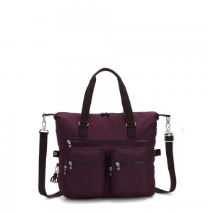 Black Friday 2020 - Kipling NEW ERASTO Large Tote with Front Pockets Dark Plum