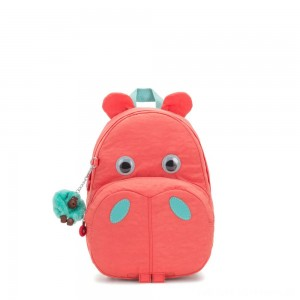 Kipling HIPPO Small hippo kids backpack Peachy Pink C