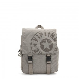 Kipling LEONIE S Small Drawstring Backpack with Push Buckle Rapid Grey