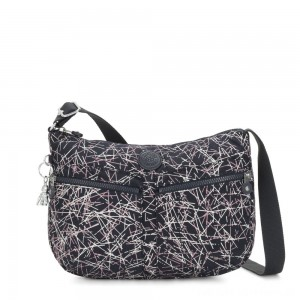 Black Friday 2020 - Kipling IZELLAH Medium Across Body Shoulder Bag Navy Stick Print