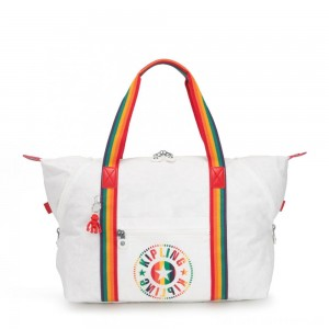 Black Friday 2020 - Kipling ART M Medium Tote Bag with 2 Front Pockets Rainbow White