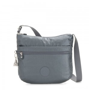 Kipling ARTO Shoulder Bag Across Body Steel Grey Metallic