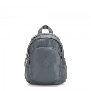 Kipling DELIA MINI Small Backpack with Front Pocket and Top Handle Steel Grey Metallic