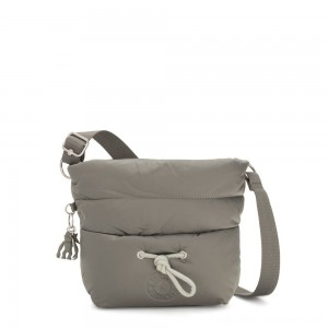 Black Friday 2020 - Kipling HAWI Puff effect Medium Crossbody with Shoulder Strap Mountain Grey