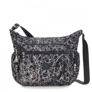 Kipling GABBIE Medium Shoulder Bag Navy Stick Print
