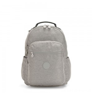 Black Friday 2020 - Kipling SEOUL Large backpack with Laptop Protection Chalk Grey