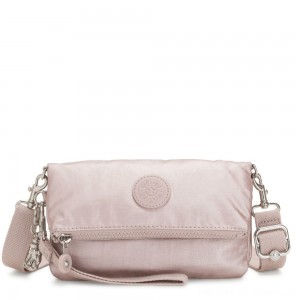 Kipling LYNNE Small crossbody Convertible to Bum Bag Metallic Rose