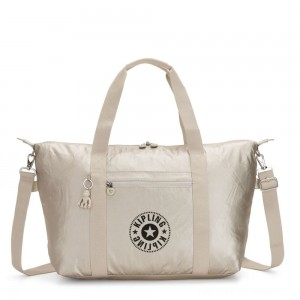 Kipling ART M Medium Tote Bag with 2 Front Pockets Cloud Metal Combo