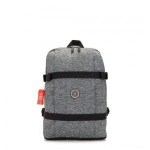 Kipling TAMIKO Medium backpack with buckle fastening and laptop protection Jersey Grey