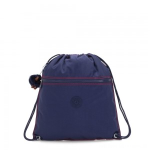 Kipling SUPERTABOO Medium Drawstring Bag Polished Blue C