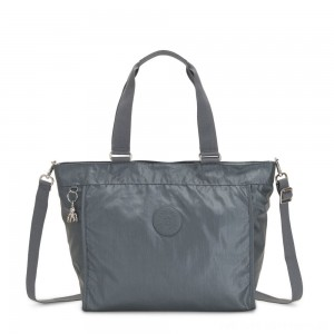 Black Friday 2020 - Kipling NEW SHOPPER L Large Shoulder Bag With Removable Shoulder Strap Steel Grey Metallic