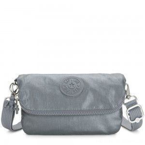 Kipling IBRI Medium pouch (with wristlet) Steel Grey Metallic Femme Strap