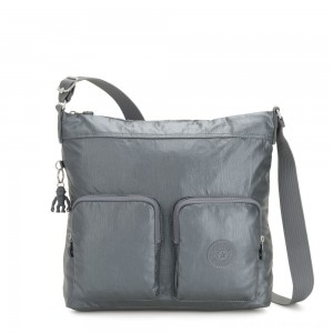 Black Friday 2020 - Kipling EIRENE Shoulderbag with External Front Pockets Steel Grey Metallic Femme Strap