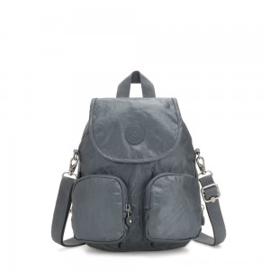 Black Friday 2020 - Kipling FIREFLY UP Small Backpack Covertible To Shoulder Bag Steel Grey Metallic