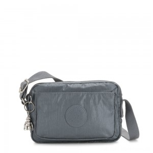 Black Friday 2020 - Kipling ABANU Mini Crossbody Bag with Adjustable Shoulder Strap Steel Grey Metallic