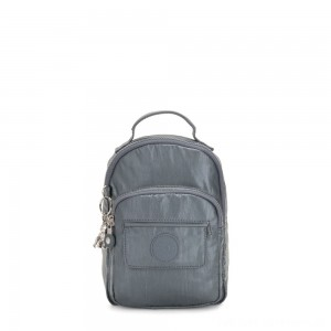 Black Friday 2020 - Kipling ALBER 3-In-1 Convertible Mini Backpack Crossbody Bumbag Steel Grey Metallic