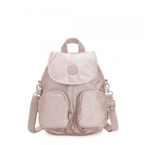 Kipling FIREFLY UP Small Backpack Covertible To Shoulder Bag Metallic Rose