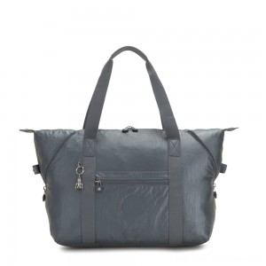 Kipling ART M Travel Tote With Trolley Sleeve Steel Grey Metallic