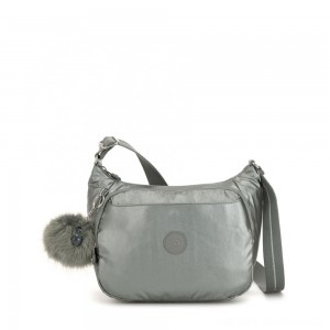 Kipling CAI Handbag with Extendable Strap Metallic Stony