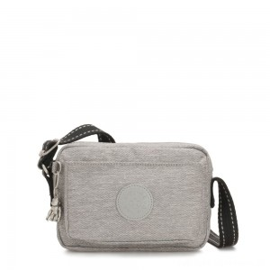 Black Friday 2020 - Kipling ABANU Mini Crossbody Bag with Adjustable Shoulder Strap Chalk Grey