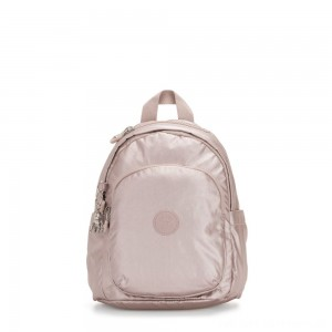 Kipling DELIA MINI Small Backpack with Front Pocket and Top Handle Metallic Rose