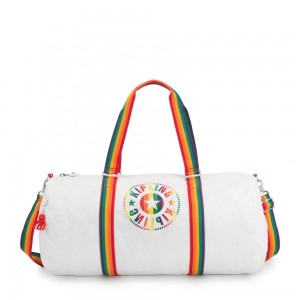 Kipling ONALO L Large Duffle Bag with Zipped Inside Pocket Rainbow White