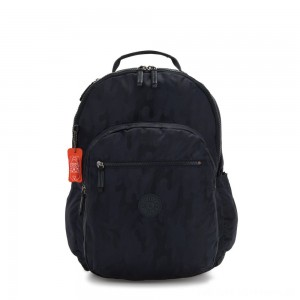 Black Friday 2020 - Kipling SEOUL XL Extra large backpack with laptop protection Blue Camo