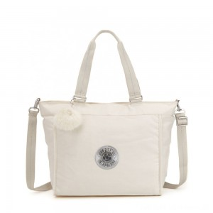 Black Friday 2020 - Kipling NEW SHOPPER L Large Shoulder Bag With Removable Shoulder Strap Dazz White