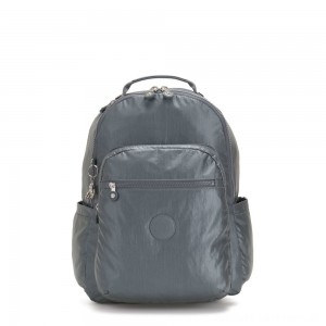 Black Friday 2020 - Kipling SEOUL Large Backpack with Laptop Compartment Steel Grey Metallic