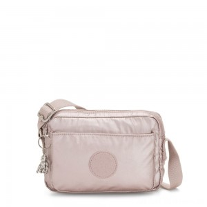 Black Friday 2020 - Kipling ABANU Mini Crossbody Bag with Adjustable Shoulder Strap Metallic Rose