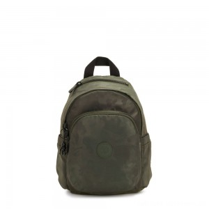 Black Friday 2020 - Kipling DELIA MINI Small Backpack with Front Pocket and Top Handle Satin Camo